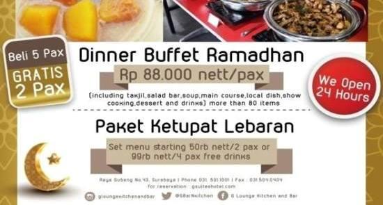 Paket Buka Puasa Hotel G-Suiter Surabaya