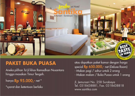 Paket Buka Puasa Hotel Santika Jemursari